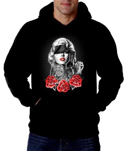 Monroe Sweatshirt Hoodie tattoo Guns Pain gangsta swag Hoody, Black, Large ()
