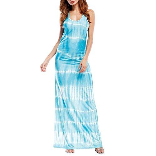 TOTOD Dress - Womens Sleeveless Bohemian Tie-Dye Illusion Print Racerback Long Tank Beach Dress Sky Blue