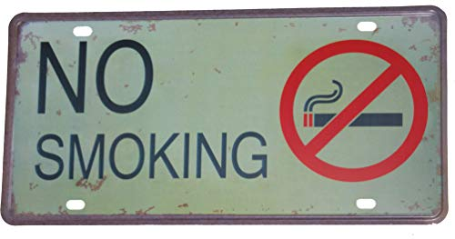 (No Smoking Sign Business | Aluminum Rust Free Indoor Outdoor | Weathered Look Silk Screen Design | License Plate Wall Art Large - 12 Inches x 6 Inches Metal)