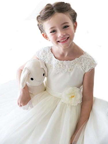 Little Girls' Elegant Mirror Organza Gown with Lace Detailing ivory size (Ivory Lace Gown)
