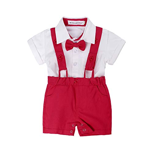 BIG ELEPHANT Baby Boys'2 Piece T-Shirt Suspender Shorts Clothing Set NA42 Red