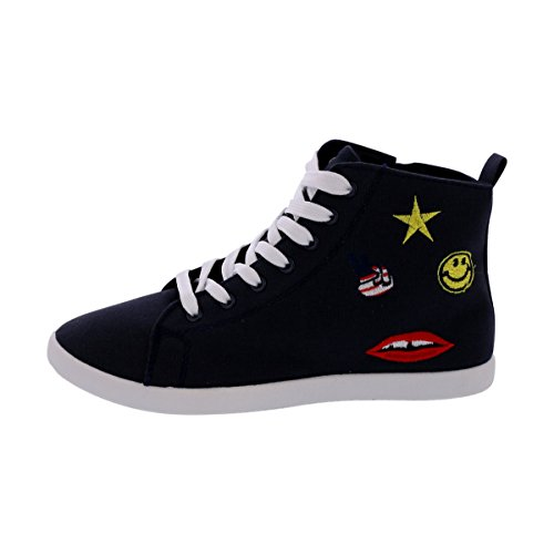 Shoe Vibe – Women Hi Top Canvas Embroidery Sneakers – Navy