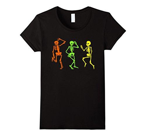 [Womens Skeleton tshirt Halloween Costume Three Glow in the Dark Large Black] (Glow In The Dark Skeleton Costumes Womens)