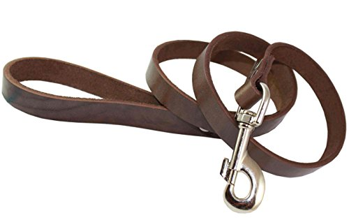 Image of 4' Real Leather Dog Leash Brown 3/4