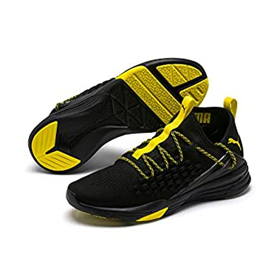 PUMA Men's Mantra Sneaker, Puma Black-Blazing Yellow, 7 US