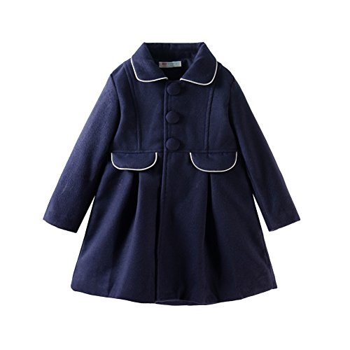 Mud Kingdom Girls' Elgant Single-breasted Faux Woolen Coat 6-7T Navy Blue