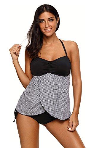 Suniny Women's Sexy Black Halter Bandeau Top Plaid Flyaway Summer 2pcs Tankini Bathing Suits Swimsuit Bikinis