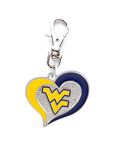 Heavens Jewelry WVU WEST Virginia University Mountaineers Heart Charm ADD to Zipper Pull PET Dog CAT Collar Leash Keychain ETC