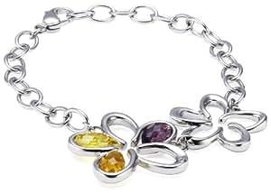 Morellato SIQ07 - Fleur - Pulsera de mujer de acero inoxidable con diamantes y cristales, 21 cm