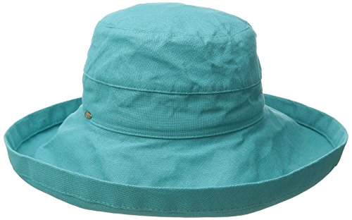 Scala Women's Cotton Hat With Inner Drawstring and UPF 50+ Rating,Teal,One Size (Brim Women Hats Big For)