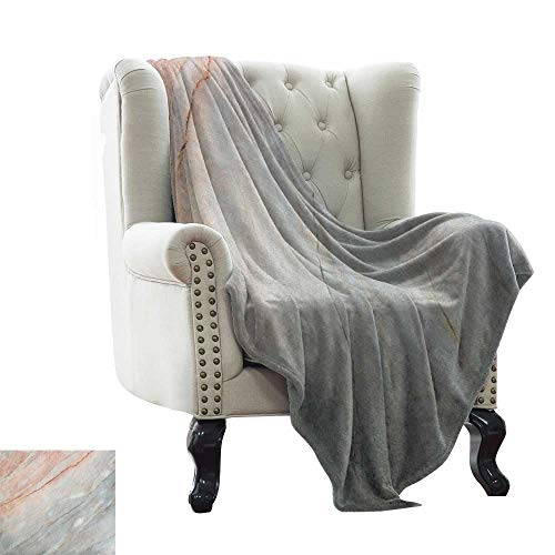 Custom Sofa Bed Throw Blanket Marble,Onyx Stone Textured Natural Featured Authentic Scratches Artful Illustration, Peach Pale Grey Luxury Flannel Throw Blankets for Bed(Lightweight,Super Soft) ()