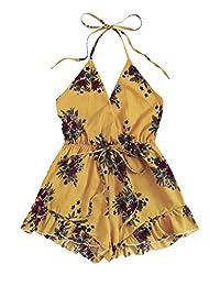 SweatyRocks Women's Sexy Halter V Neck Backless Floral Print Short Romper Jumpsuit