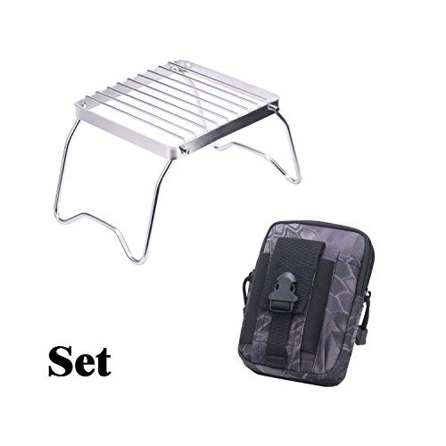 - JINDE Portable Stainless Steel Outdoor Burner Stand for Gas Alcohol Wood Stove Backpacking Hiking Traveling Picnic BBQ & Universal Multipurpose Black Camo Tactical Waistpack Gadget Money Pocket EDC.