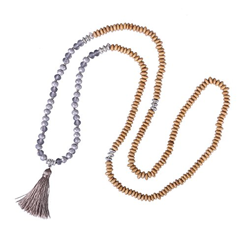 KELITCH Statement Tassel Long Pendant Necklaces for Women Handmade Bracelet Wood Bead Buddha Jewelry