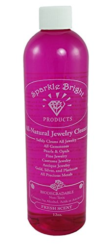 Sparkle Bright All-Natural Jewelry Cleaner Solution - 12oz. | Jewelry Cleaning for Ultrasonic, Diamonds, Fine, Costume, Designer, Fashion Jewelry