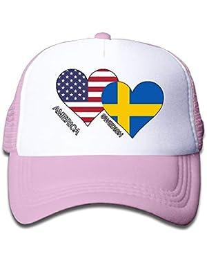 America Swedish Flag Heart On Children's Trucker Hat, Youth Toddler Mesh Hats Baseball Cap
