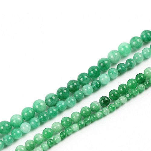 JARTC Natural White Green Chalcedony Round Loose Beads for Jewelry Making DIY Bracelet Necklace (10mm)