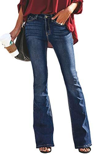 GUNLIRE Women's Juniors Mid Blue Bell Bottom Flare Jeans High Waisted Stretch Wide Leg Fashion Long Pants ()