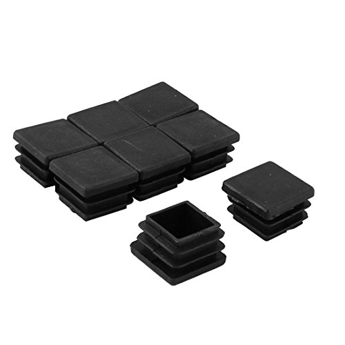 uxcell Plastic Square Tube Inserts Furniture Glides End Blanking Caps 8pcs Black - 1/2' Racking Tube