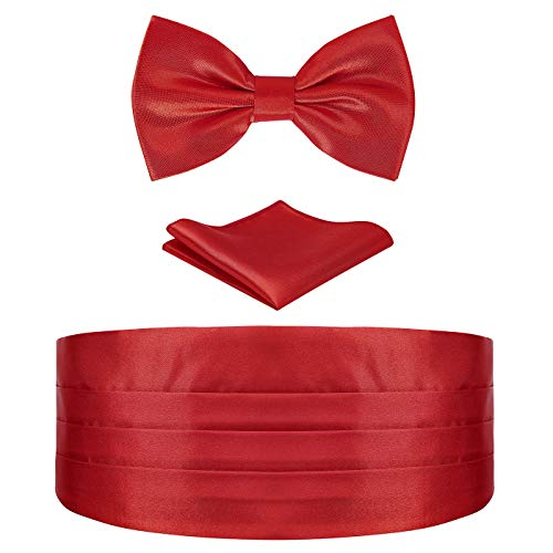 HDE Red Cummerbund and Bow Tie, Pocket Square for Men Satin Tuxedo Set]()