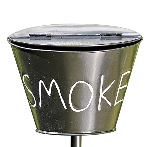 (WHW Whole House Worlds Outdoor Smoke Ashtray, Lidded Bucket on Stake with Prong Post, Garden Party Style, Black Lacquered Iron, 6 x 6 x 43 1/4 Inches (15 x 15 x 110 cm))