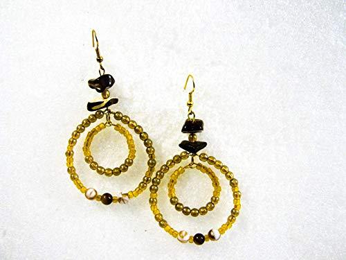 Shell Glass Gemstone Beaded BOHO Style Hoop EARRINGS 2 inch Pierced or Clip on Clip Tigers Eye Earrings