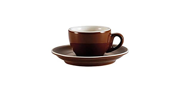 2-3//4 by 1-7//8-Inch 36-Pack CAC China CFB-35 Venice 3.5-Ounce Brown//American White Porcelain Round Espresso Cup with Saucer