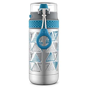Ello Ride Stainless Steel Water Bottle, Grey/Blue, 14 oz.