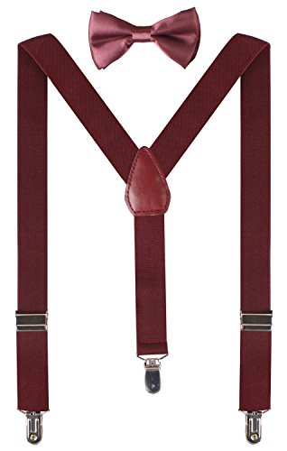 (BODY STRENTH Boys' Bow Tie and Suspenders Set Classic Y Shape (26 Inches (3yrs - 9yrs),)