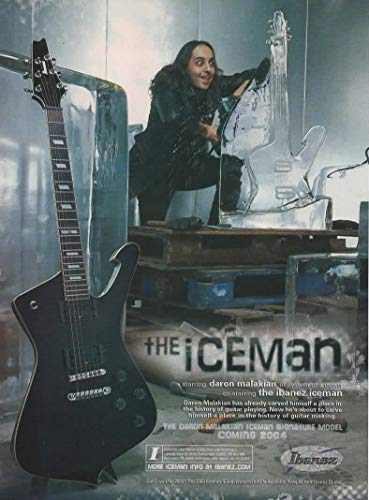 """Magazine Print ad: 2006 Daron Malakian of System of a Down for Ibanez""""The Iceman"""" Signature Model Electric Guitar"""