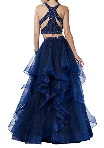 Blau Abiballkleider Charmant Abendkleider Teilig Dunkel Abschlussballkleider Lang Blau Promkleider Dunkel Zwei Perlen Damen HwHx4nqg