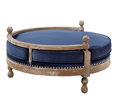 TOV Furniture The Hound Collection Handmade Solid Weathered Oak Frame Pet Dog Bed with Removable Waterproof Velvet Cushion, Navy