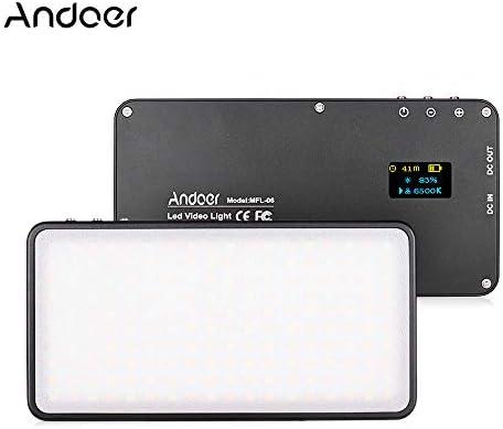 Andoer MFL-06 Mini-LED-Kamera-Panel, 180 Stück, dimmbar, LED, Li-Ion-Akku, wiederaufladbar, für Canon, Nikon, Sony, DSLR