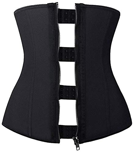 Ladies Hourglass - Camellias Women's Hourglass Waist Slimming Latex Zipper and Hook Waist Trainer Corset Body Shapewear, SZ2219-Black-3XL