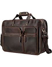 """Polare 17"""" Full Grain Leather Briefcase Messenger Laptop Bag Tote for Men with Premium YKK Zippers(Dark Brown)"""