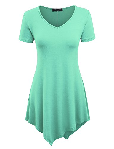 Made By Johnny MBJ WT638 Womens Scoop Neck Trapeze Tunic (Assorted Spearmint)