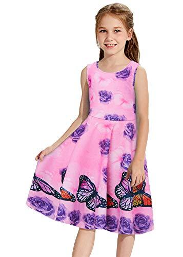 Funnycokid Hawaiian Dresses for Girls Rose Flower Dress Sleeveless Casual Sundress 8-9T