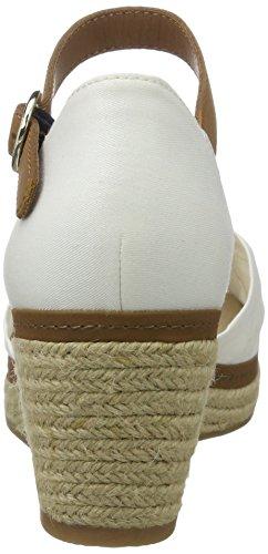 Tommy Hilfiger E1285lba 40d, Sandalias con Cuña para Mujer Blanco (Whisper White 016)