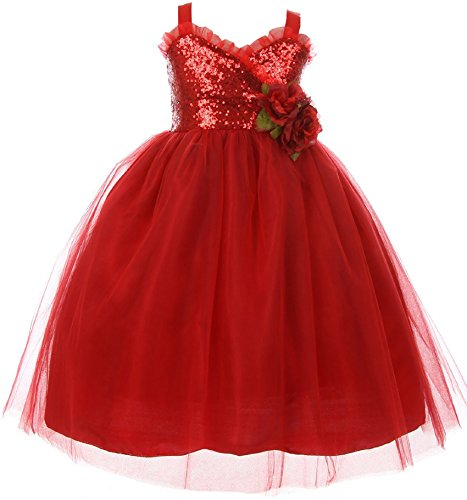 - Big Girls' Dress Sequins Ruffle Trim Layered Tulle Pageant Party Flower Girl Dress Red Size 10 (K64K11)