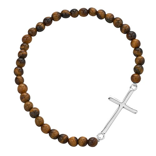 Chuvora 925 Sterling Silver Thin Line Cross Beaded Brown Tiger-Eye Gemstone Spheres Stretch ()