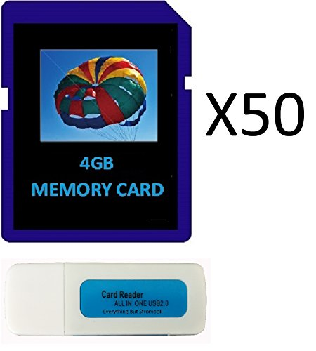 4GB SDHC Class 10 Everything But Stromboli 50-Pack SD Style Flash Memory Card Wholesale Bulk Lot for Digital, Trail, Canon, Nikon DSLR, Game Camera with Everything But Stromboli (tm) Combo Card Reader from Everything But Stromboli