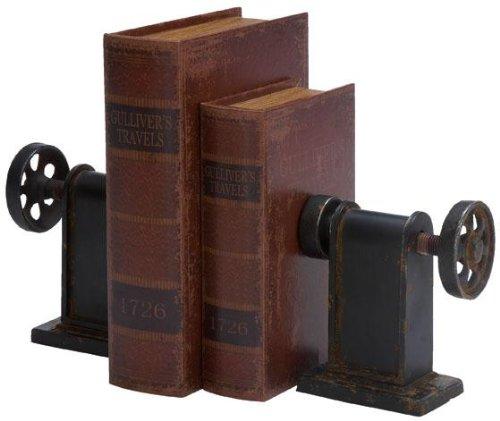 Home Decorators Collection Industrial Bookends Set Of 2, PR 8 Hx7 W, BLACK METALLIC