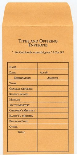Tithe and Offering Envelope: Package of - Stores Mall In Americana