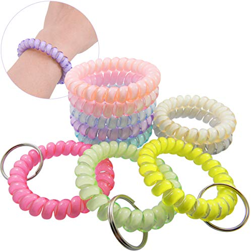 QY 10pcs Colorful Bright Crystal Colors Plastic Spiral Coil Wrist Band Key Ring Chain