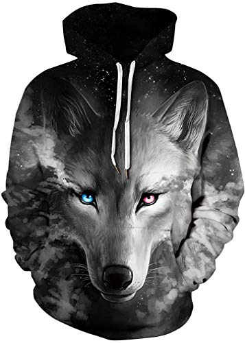 FLYCHEN Men's Digital Print Sweatshirts Hooded Top Galaxy Pa