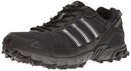 adidas Men's Rockadia Trail M Running Shoe, Black/Black/Dark Grey Heather, 10.5 M US (Adidas Mens Wide Response Gt Wrestling Shoe)