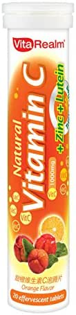 Vitarealm 1000mg Natural Vitamin C + Zinc + Lutein Efferverscent Tablets with Acerola Extract • Orange Flavor • 20 Tablets