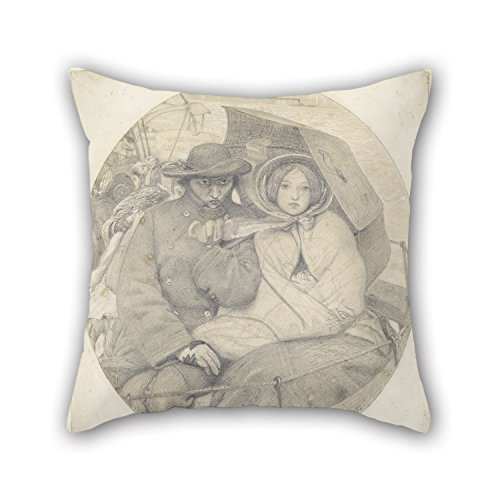 Slimmingpiggy Oil Painting Ford Madox Brown - The Last Of England - Cartoon Pillow Shams 18 X 18 Inches / 45 By 45 Cm Gift Or Decor For Boy Friend,chair,bar Seat,saloon,gf,kids Room - Twice Sides (My Devil Gf)