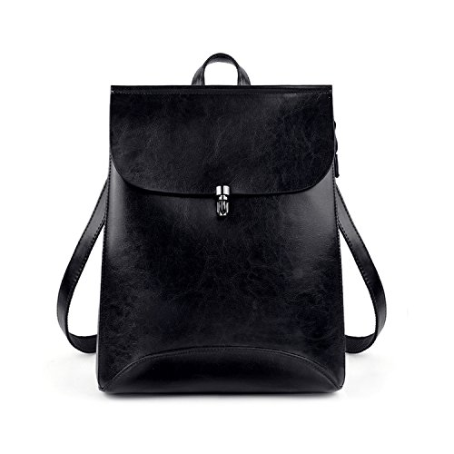 Leather Small Flap (UTO Women's Pu Leather Backpack Purse Ladies Casual Shoulder Bag School Bag for Girls Small Black)