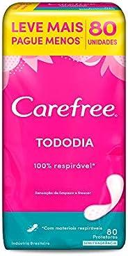 Protetor Diário Todo Dia sem Perfume, Leve 80 Pague 60, Carefree, 80 Unidades